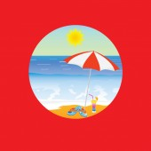 Beach paradise cartoon vector illustration on a red — Stock vektor