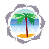 Beach paradise with palm and dolphin vector illustration — Stock vektor