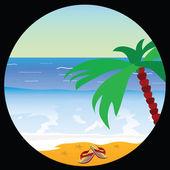 Beach paradise with sea star vector illustration — Stock vektor