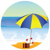 Beach paradise with umbrella vector illustration — Stock vektor