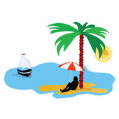 Beach with palm tree and sea and summer idyll vector illustratio — ストックベクタ