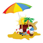 Beach with stuff art vector illustration part five — Stock Vector