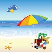 Beach with stuff art vector illustration — Stock Vector