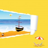 Beach with tearing paper color vector illustration — Stock vektor