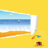 Beach with tearing paper vector illustration — Stock vektor