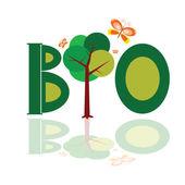 Bio word icon with tree illustration vector — Cтоковый вектор