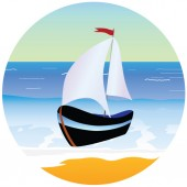 Boat and beach cartoon vector illustration — Stock Vector