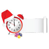 Christmas clock with tearing paper color vector — ストックベクタ