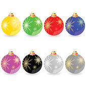 Christmas decorative ball in different color vector illustration — Vecteur