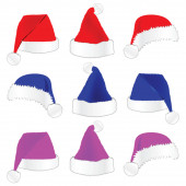Christmas hat in three color vector illustration — Stock Vector