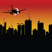 City silhouette with airplane vector illustration — Stok Vektör