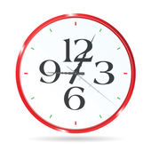 Clock in red color with four number vector — ストックベクタ
