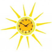 Clock in yellow sun vector illustration — ストックベクタ