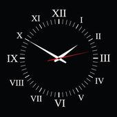 Clock vector on black background — ストックベクタ