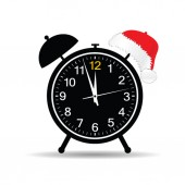 Clock with new year hat vector — Stockvektor