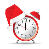 Clock with red christmas hat vector — Wektor stockowy