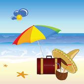 Coconut and beach stuff vector illustration — Stock Vector