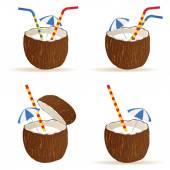 Coconut cocktail vector illustration — Stock Vector