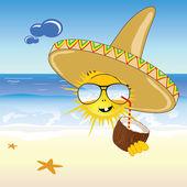 Coconut and sun on the beach vector illustration — Stock Vector