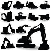 Construction work machine silhouette — Stock Vector