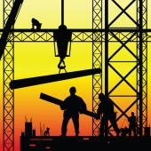 Construction worker at work and dusk vector illustration — Vector de stock