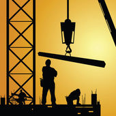 Constuction worker at work with crane illustration — Vector de stock