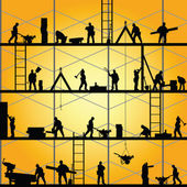 Construction worker silhouette at work vector illustration — Stock Vector