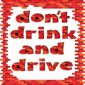 Dont drink and drive red brick word — Stock Vector