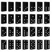 Domino czarny wektor zestaw ilustracji — Wektor stockowy