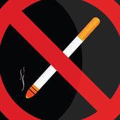 No fumar en fondo negro — Vector de stock
