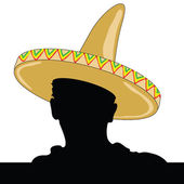 Mexican man silhouette with sombrero — Stock Vector