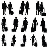 Man and woman with travel bag black silhouette — Stok Vektör