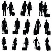 Man and woman with travel bag black silhouette — Stockvektor