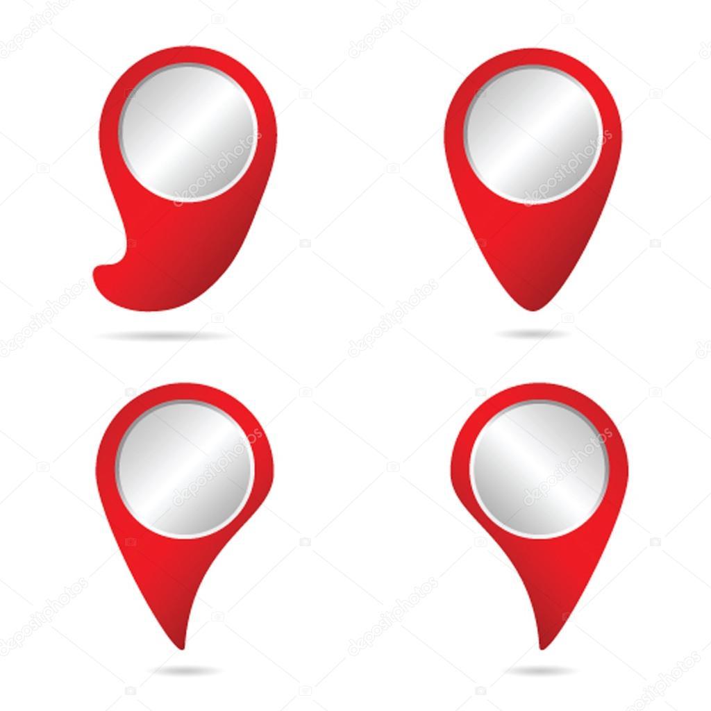 地图中红色颜色矢量图的指针