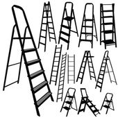 Ladder vector silhouette in black color — Stock Vector