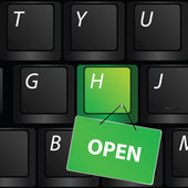Keyboard with green open sign vector — Stock Vector