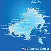 Island of Skiathos in Greece map — Vector de stock