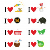 I love different things vector illustration — Stock Vector