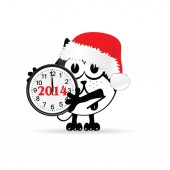 Funny animal with new year clock vector illustration — Stock Vector
