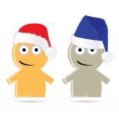 Funny people icon with christmas hat vector illustration — Vecteur