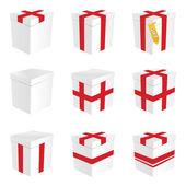 Geschenkkarton in weiße Farbe Abbildung — Stockvektor