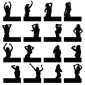 Girl in various poses on black silhouette — Wektor stockowy