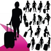 Girl with a travel bag vector silhouette — Stok Vektör