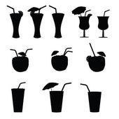 Glas Alkohol mit einem Stroh-Vektor-illustration — Stockvektor