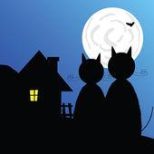 Halloween with bat vector illustration — Stock Vector