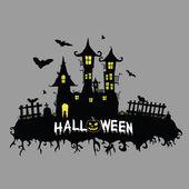 Halloween vector illustration on color — Stock Vector