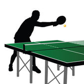 Ping pong player silhouette six — Stock Vector
