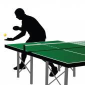 Ping pong oyuncu siluet üç — Stok Vektör