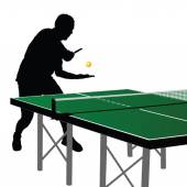 Ping pong player silhouette 2 — Stock Vector