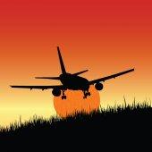 Plane and sunset art vector illustration — Stock Vector